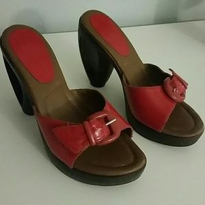 "Shiny red 4"" wooden heels"